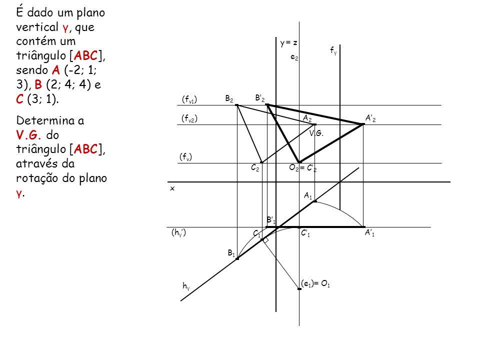 Determina a V.G. do triângulo [ABC], através da rotação do plano γ.